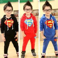 Spring new children's cotton hooded solid Superman Superman suit boy suit clothing set  size 100-140 121102