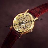 100pcs/lot,Wholesale New Kings Women Man Skeleton Watches Fashion Men Business Leather Wristwatches Sports Military Quartz Watch
