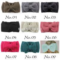 Knitted Headband With Large Bow Womens Crochet Ear Warmer Winter Fall Hairband