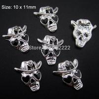 10pcs Epoxy Skull Wearing Hat alloy Nail  Art Charms 3d Nail Tips decorations  AM147
