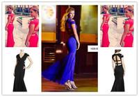 3 Colours Ladies HL Bandage Dress Short Sleeve Sexy V-Neck Floor Length Dress Evening Party Dress Wholesale