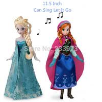 "Hot Sale! 2PCS/Set 11.5inch Frozen Musical Doll Singing ""Let It Go"" Frozen Princess Elsa & Anna Musical Doll For Girl Gifts"