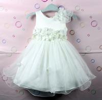 Retail girl dress white dress pretty flower dress, baby princess dress free shipping