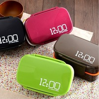 4 Colors 12:00 2 Layer Japanese Bento Lunch Box Sushi Lunchbox Food Container Kitchen Accessories Tableware Microwave Lunch Box