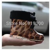 New 2015 Baby Girls Boys Leopard PVC Bow Rain Boots Children Waterproof Winter Warm Rainboots Kids Anti-slip Water Shoes #KS7