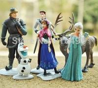 Without retail box new Frozen princess Figure Play Set Anna Elsa Hans Kristoff Sven Olaf 6pcs/set cartoon action figure Gifts