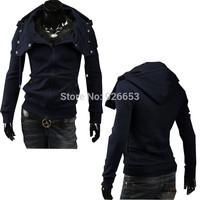 2014 New Mens Fashion Sweatshirt Cotton Pure Color Zipper Hooded Hoodies Slim Casual Jacket 3 Color Size L XL XXL