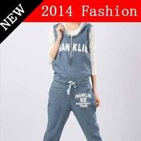 2014 new fashion summer overalls letter printed jumpsuit women bodycon denim bodysuit cropped coverall bermudas feminino 1107LX