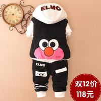 Children's clothing three piece set female child cartoon child sports set male baby child baby clothes thickening