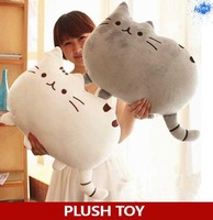 Kawaii plush cat animal doll as bolster pillow , lovely pusheen plush toy for girl's stuffed animal as sofa home decoration