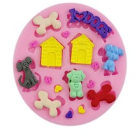 Baked soft silicone pet dog house double sugar mould cake decoration mold silicone chocolate mould Free shipping 50-33
