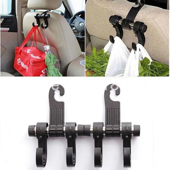 Hot Sale Black Convenient Double Vehicle Hangers Auto Car Seat Headrest Bag Hook Holder Fastener Organizer(China (Mainland))