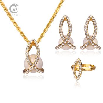 Перл ювелирные комплект женщины аксессуары свадебные ожерелья шкентеля африканский бусины австрийский хрусталь позолоченные серьги кольцо цветок