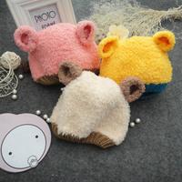Baby style cap bear ear stereo cap shaggier male baby warm hat ear cap protector