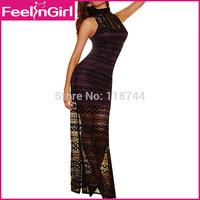 Fashion Women Clubwear Wine Red Lace Dress Maxi Long Sleeveless Elegant Vestidos Sexy Party Bodycon Dresses Free Shipping 3