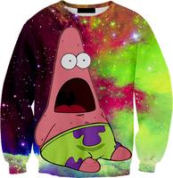 Free shipping Women Men 3D Harajuku BIG PAT CREWNECK Pat galaxy space Sweatshirts cartoon Sweats Winter Autumn Sweaters