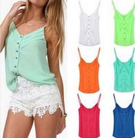 Plus Size Blusas Femininas 2014 Women Blouses Sleeveless Chiffon V-neck Tops Tank Top Casual Women's Tanks Wholesale And Retail