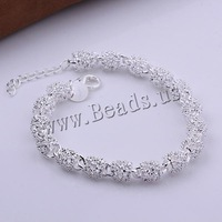 Free shipping!!! Jewelry Bracelet,Wedding, Brass, with 2lnch extender chain, real silver plated, nickel, lead & cadmium free