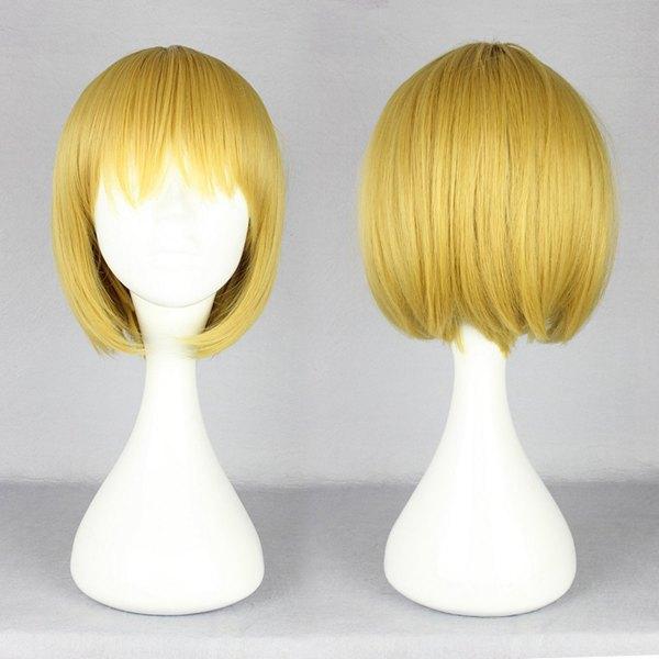 Feminino curto amarelo Bob penteado Cosplay sintético ataque em Titan-Armin Arlart peruca(China (Mainland))
