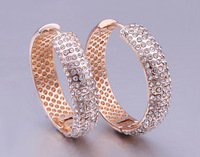 Free shipping!!! Jewelry Earring,2014 designer brand women, Zinc Alloy, Donut, real rose gold plated, with rhinestone, nickel