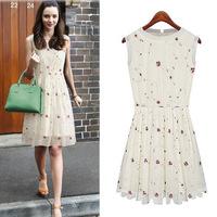 Hot !Plus size 2014 European pleated women stitching gauze sleeveless chiffon dress flower printed free shipping zex190