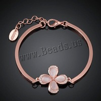 Free shipping!!! Jewelry Bracelet,New, Zinc Alloy, with Cats Eye, with 2lnch extender chain, Flower, real rose gold plated