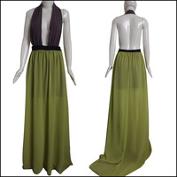 Black Green Patchwork Women Dress New Arrival Europe And America Fashion Maxi Dress Long Gowns Party Evening Dress Free Shipping
