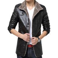 New 2015 men warm fur leather winter jacket slim long jackets fashion outdoor coat