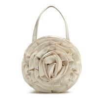 Free ship HOT Pale gold satin champagne oversized three-dimensional flowers round handbag evening bag