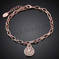 Free shipping!!! Jewelry Bracelet,Unique, Zinc Alloy, with 2lnch extender chain, Flat Round, real rose gold plated