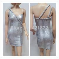 2015 new arrival high quality silver foil one shoulder bandage Celebrity dress Party Evening Dresses HL