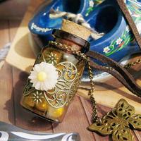Fashion Noble Jewelry Retro Wishing Bottle Long Leather Rope Sweater Necklace V3NF
