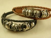 Men's Stylish Skull Leather Wrap Bracelets Top Quality Wholesale Price In Stock