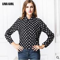 2014 black wave big yards chiffon blouse Ms dot long sleeve casual turn down collar polka button blouse shirt women top