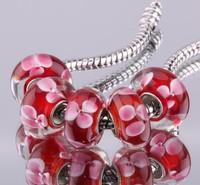 5PCS 925 sterling silver DIY thread Murano Glass Beads Charms fit Europe pandora Bracelets necklaces  /gifaozma gvrapmya F280