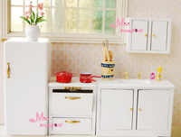 Free Shipping~1/12 Scale Dollhouse Miniature Furniture Pure White Small Kitchen Set 4PCS Furniture Re-ment niceToy GIFT for kids