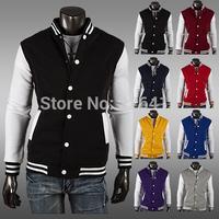 Top Quality Classic Baseball Jacket Men Slim Short Design Men Casual Jacket Brushed Jacket 8 Colors Size M-XXL Free Shipping