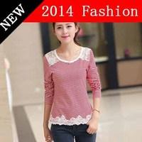 2014 new fashion autumn crop top christmas t shirt tops brand renda casual dress shirts women hot sale uk style blusas 1108LX