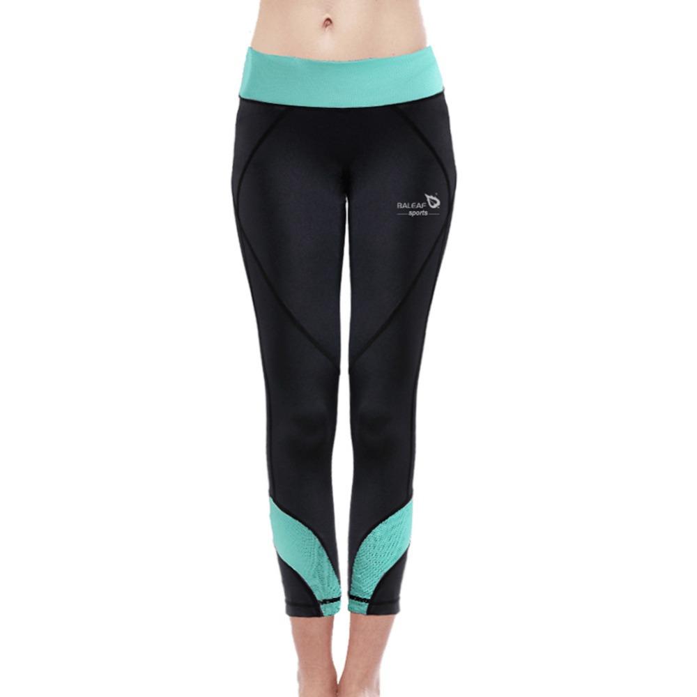 Baleaf Women`s Fitness& Yoga Leggings W/ Light Green Waistband Highly Elastic Slim-fitting Bodybuilding Wortout Yoga Pants S-XL(China (Mainland))