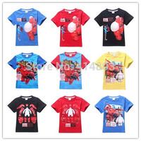 Joy Chang's 2015 new girl summer short sleeve Big Hero 6 Tshirts kids t-shirt 110-150cm 5pcs/lot 2 colors