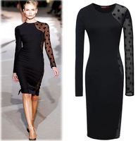 New 2015 Autumn Winter Women's Full-Sleeve Knee-Length Sexy Patchwork Dot Pencil Dress Casual Ladies Elegant Office Dresses