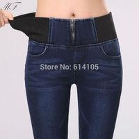 Cotton Winter Fleece Jeans Woman High Waist Jeans Super Soft Heavy Warm Pants For Women Trousers calca jeans feminina blue/black