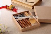 5 Pair Bamboo Japanese Chopsticks Set w/ Rice Scoop Spoon for Serving Sushi Asian Food Black Lacquer End Pattern Wedding Favors