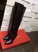New 2014 Autumn winter brand designer quality Full Grain leather knee-length elegant high heels rivets boots for women#VN430