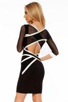 New 2014 New Sexy women dress High Street Black White Mesh Cross Strap Bodycon Dress LC21420