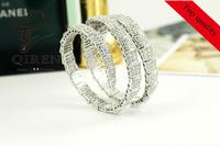 fashion jewelry 925 sterling silver bangles cuff bracelets snake bracelet Adjustable wrist bangles for women full Zirconia