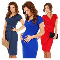 New Fashion 2014 Elegant Celebrity V-neck Short Sleeve mid calf Cotton Casual Bodycon Women Dresses