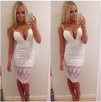 vestido 2015 women dress white V-neck Lace Bandage fashion bag hip casual dress vestido de festa