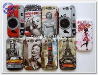 Plastic Mobile Phone Back Case for Samsung Galaxy S3 i9300 Cover Retro Eiffel Tower Marilyn Monroe Flower Girl Camera Design