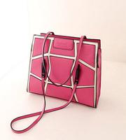 The new retro handbag shoulder bag handbag hit color stitching